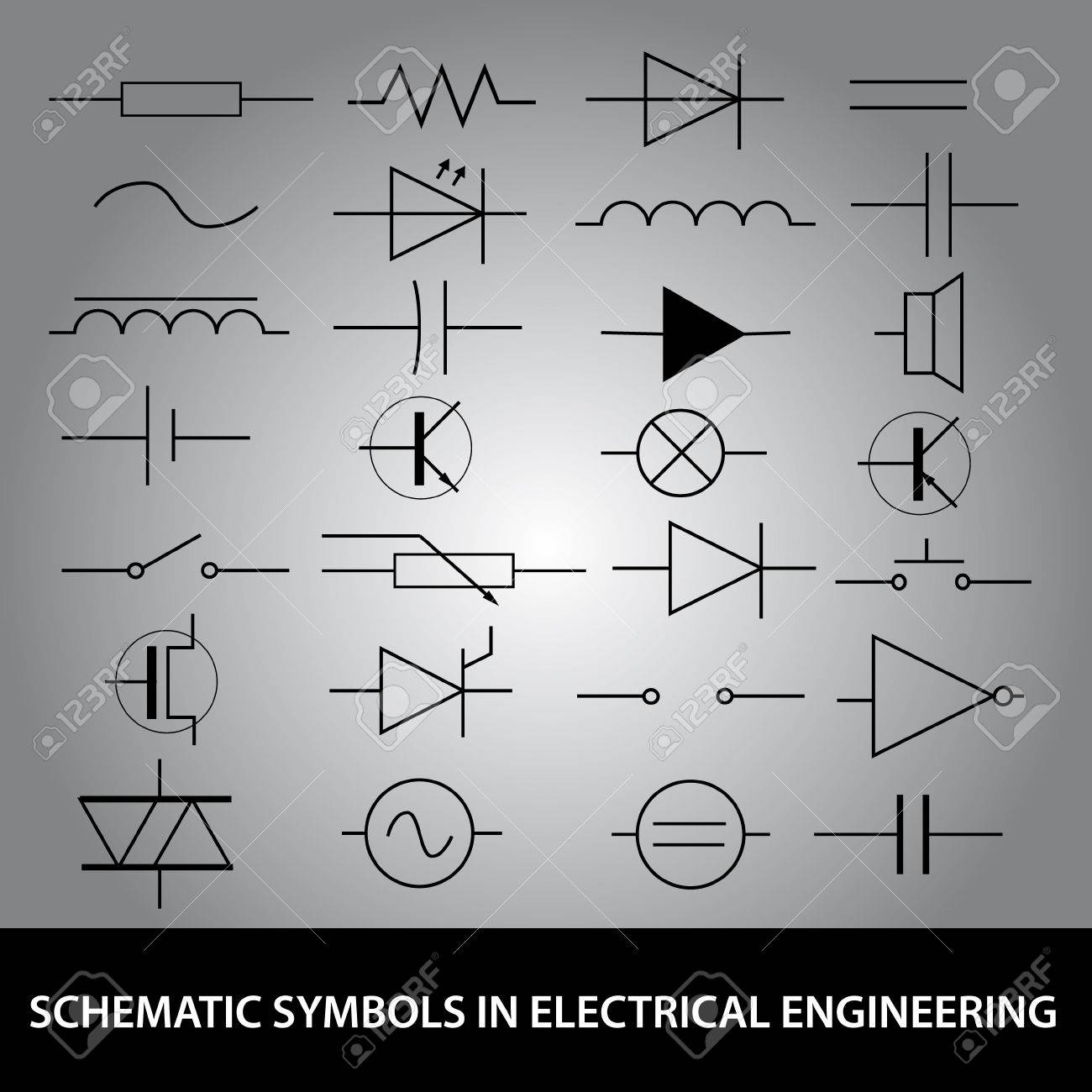 Schematic Symbols In Electrical Engineering Icon Set Royalty Free