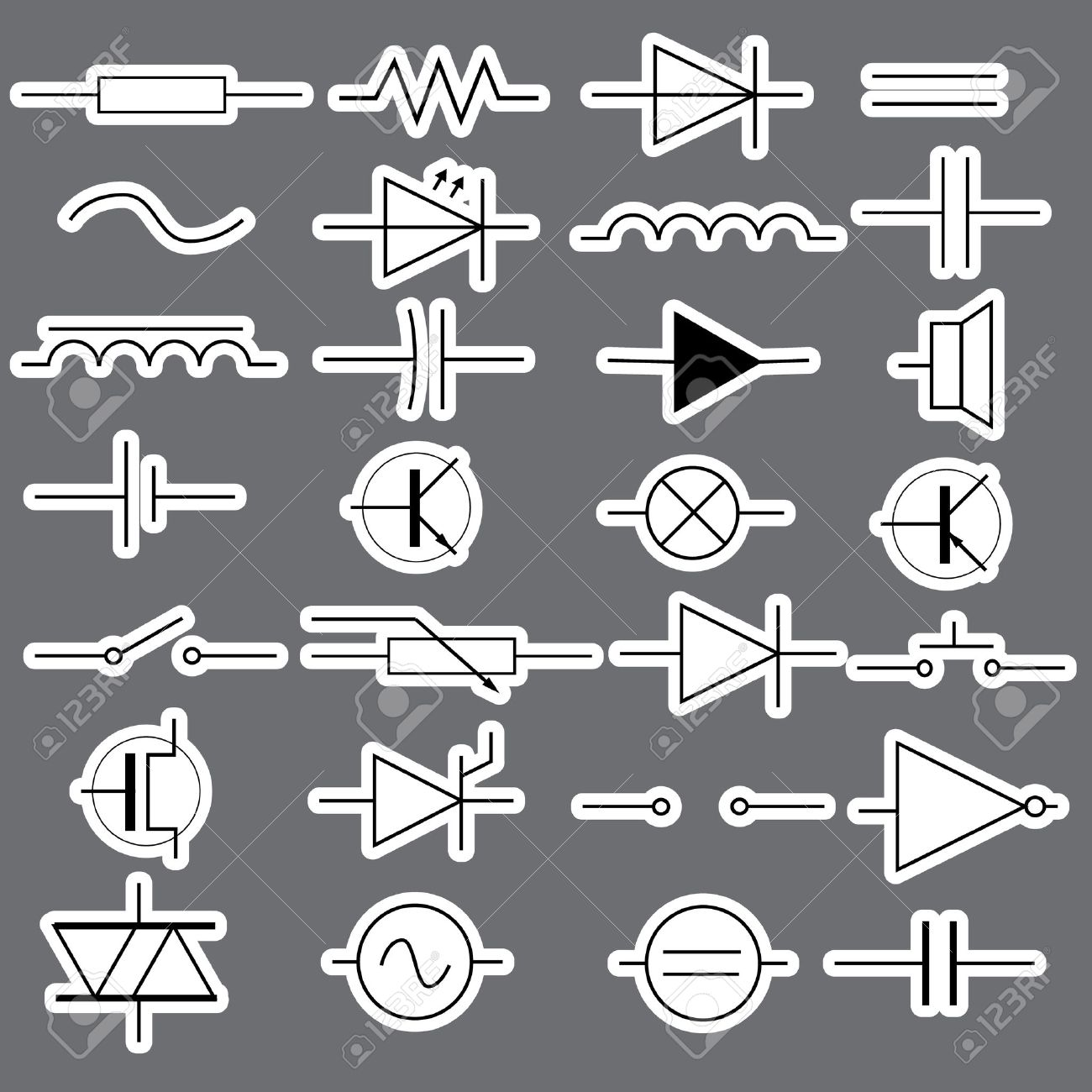 schematic symbols in electrical engineering stickers eps10 royalty vector schematic symbols in electrical engineering stickers eps10