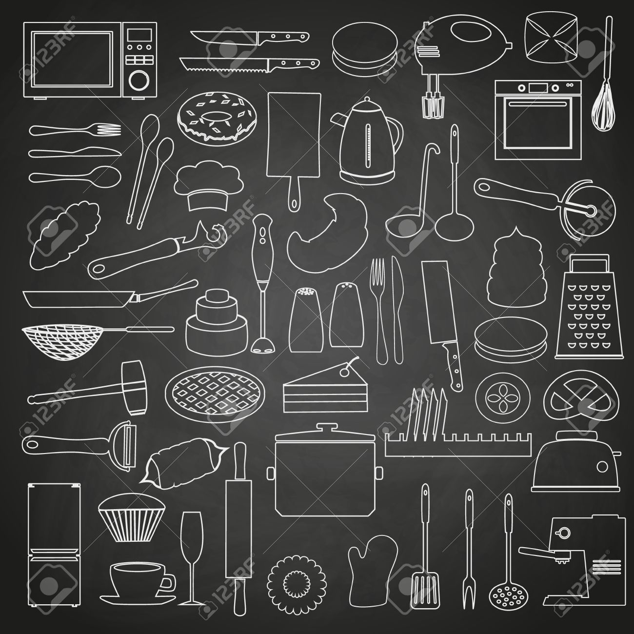 Home Kitchen Tools And Food Outline Icon On Blackboard Eps10 Stock Vector    40463114