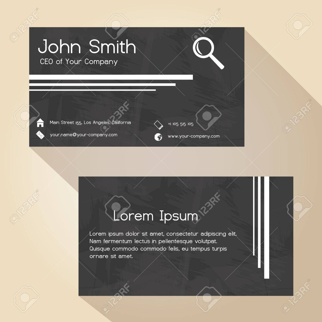 Black And White Grunge Paper Simple Business Card Design Royalty ...