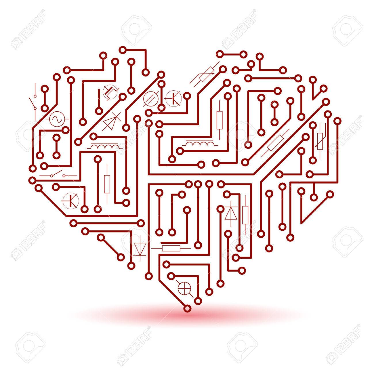 Printed Red Electrical Circuit Board Heart Symbol Eps10 Royalty Free ...