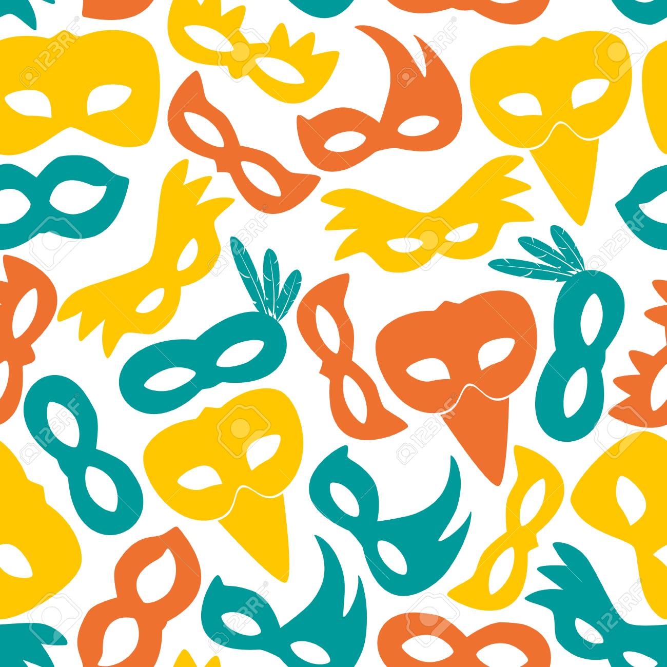 carnival color masks icons seamless pattern royalty free cliparts