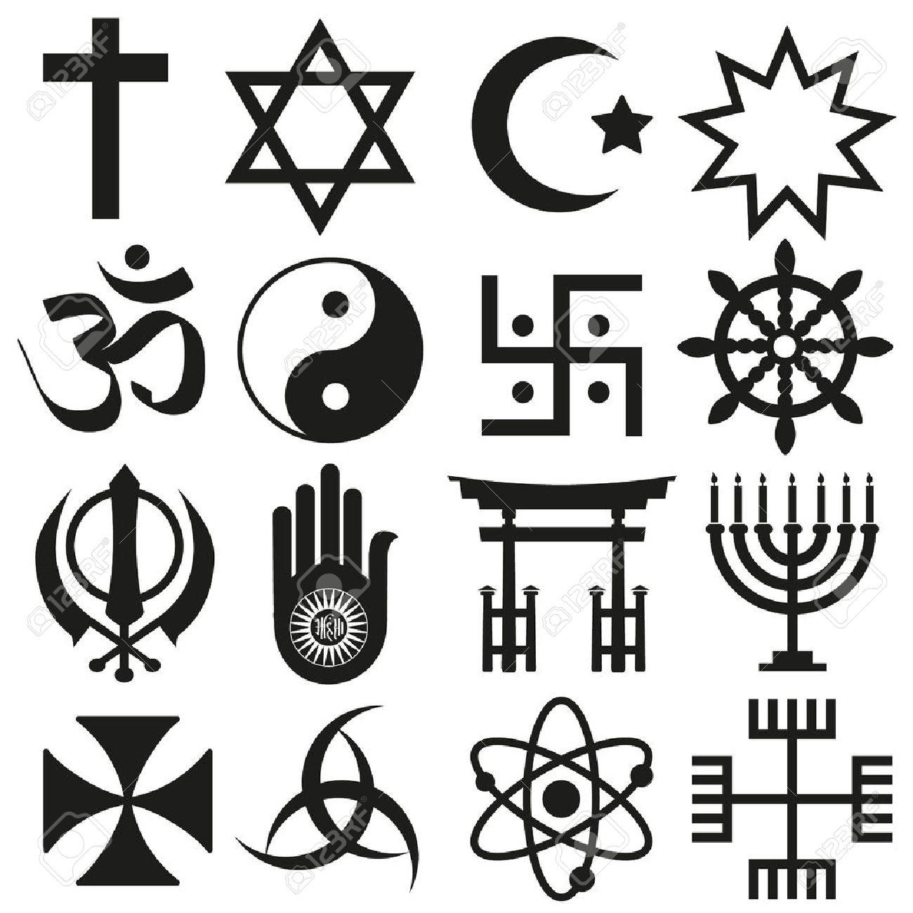 world religions symbols vector set of icons - 41824871