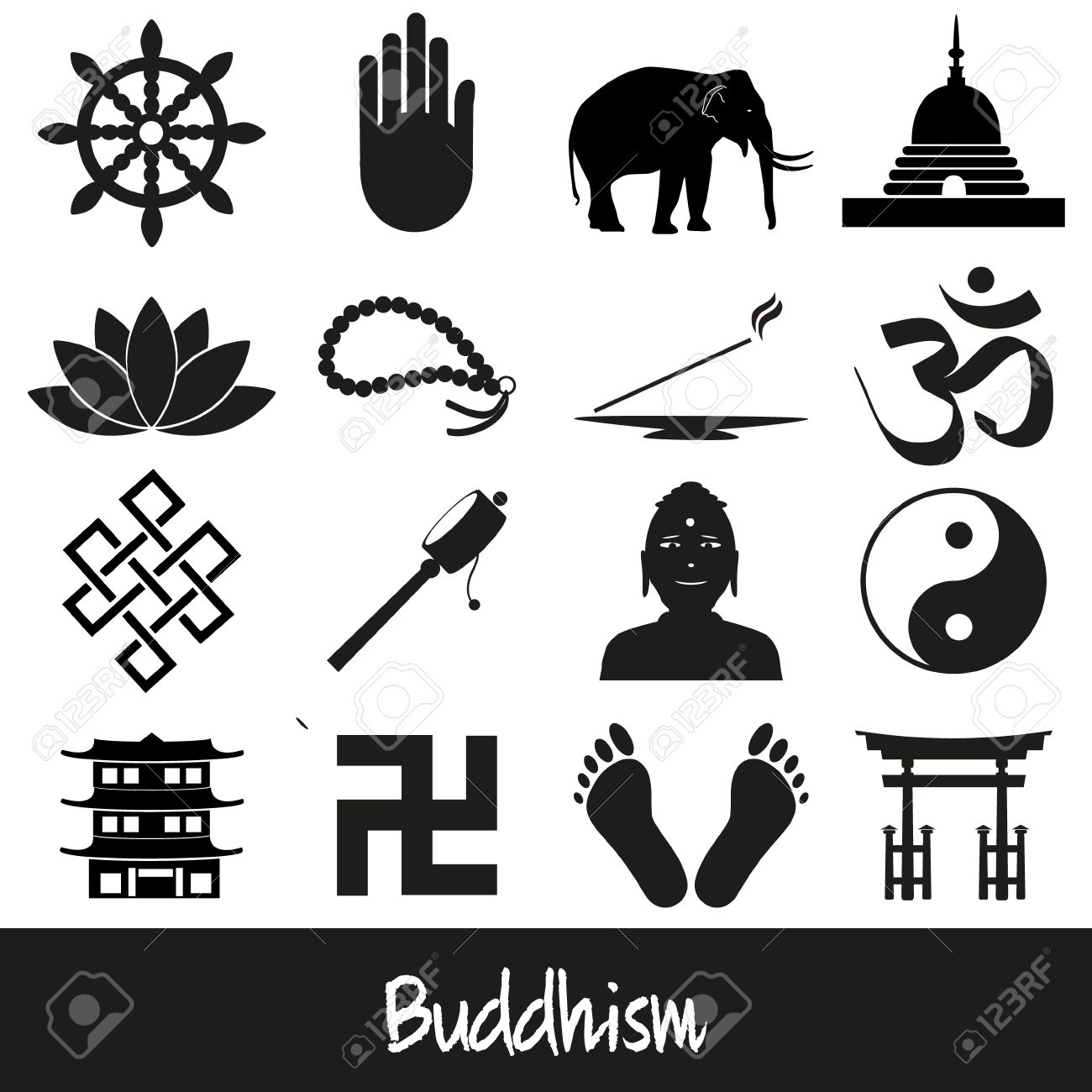 Buddhism religions symbols vector set of icons royalty free buddhism religions symbols vector set of icons stock vector 43584801 biocorpaavc