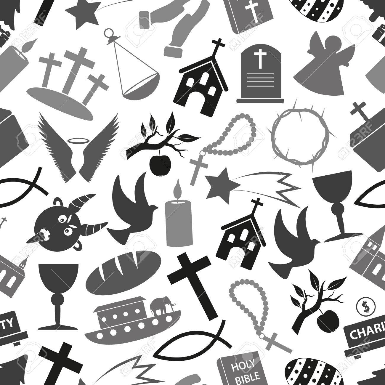 Christianity Religion Symbols Grayscale Seamless Pattern Eps10