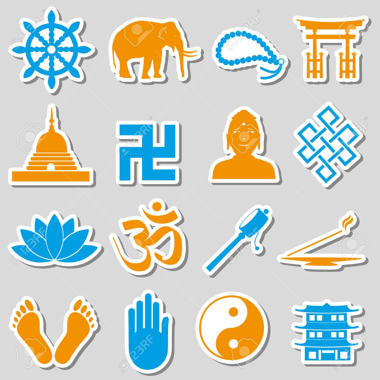 Buddhism Religions Symbols Vector Set Of Stickers Royalty Free