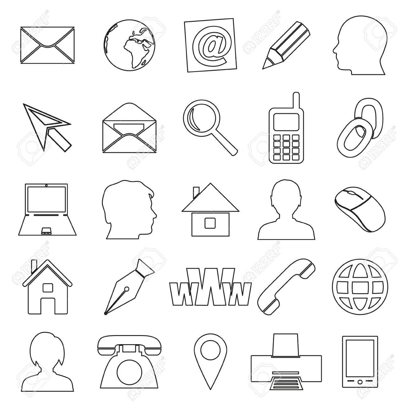 Icones De Contour Simples Pour Carte Visite Et Une Utilisation