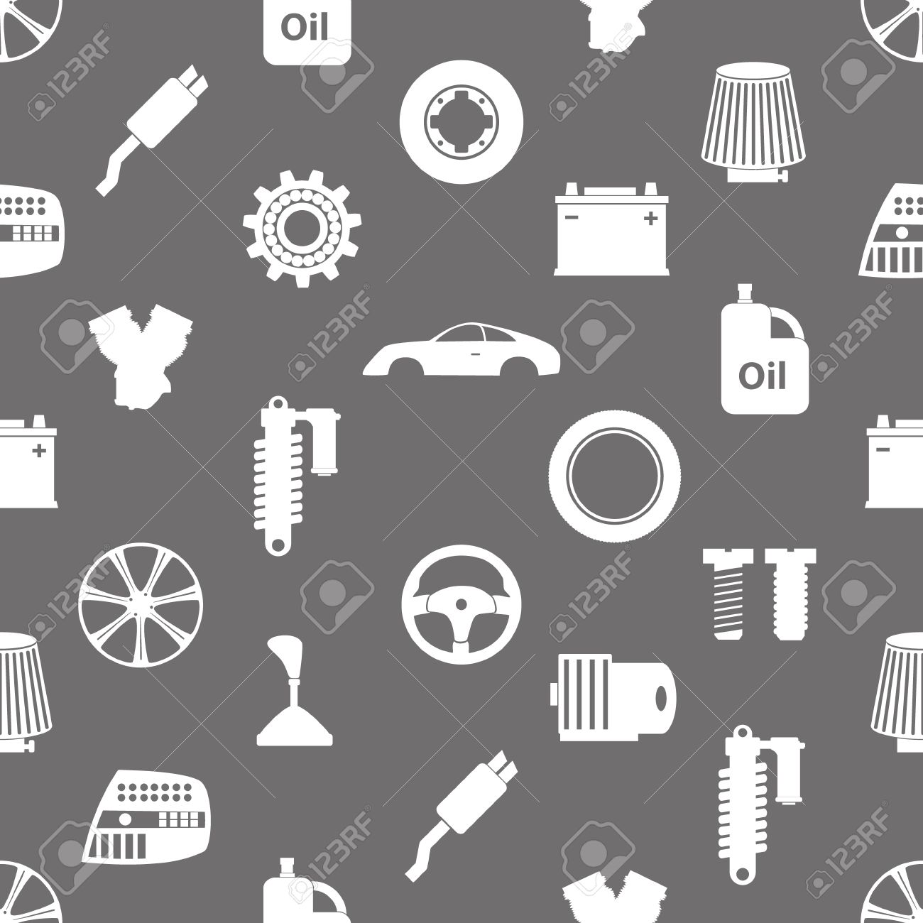 Car Parts Store Simple Icons Seamless Pattern Royalty Free Cliparts ...