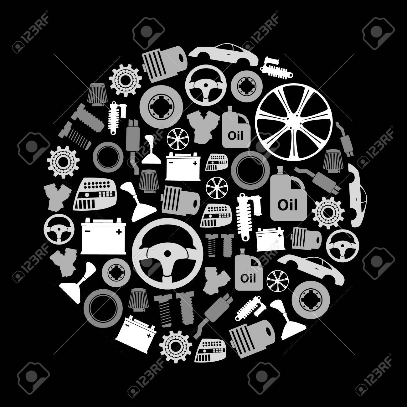 Car Parts Store Simple Gray-scale Icons In Circle Royalty Free ...