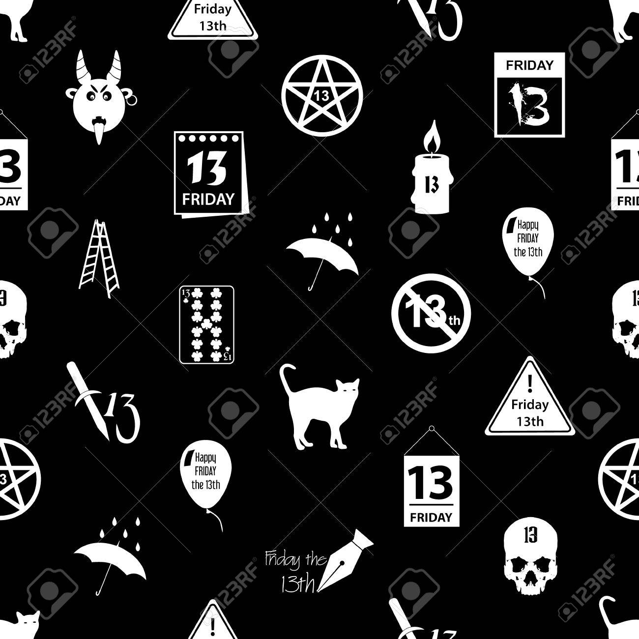 Friday The 13 Bad Luck Day Icons Seamless Pattern Royalty Free