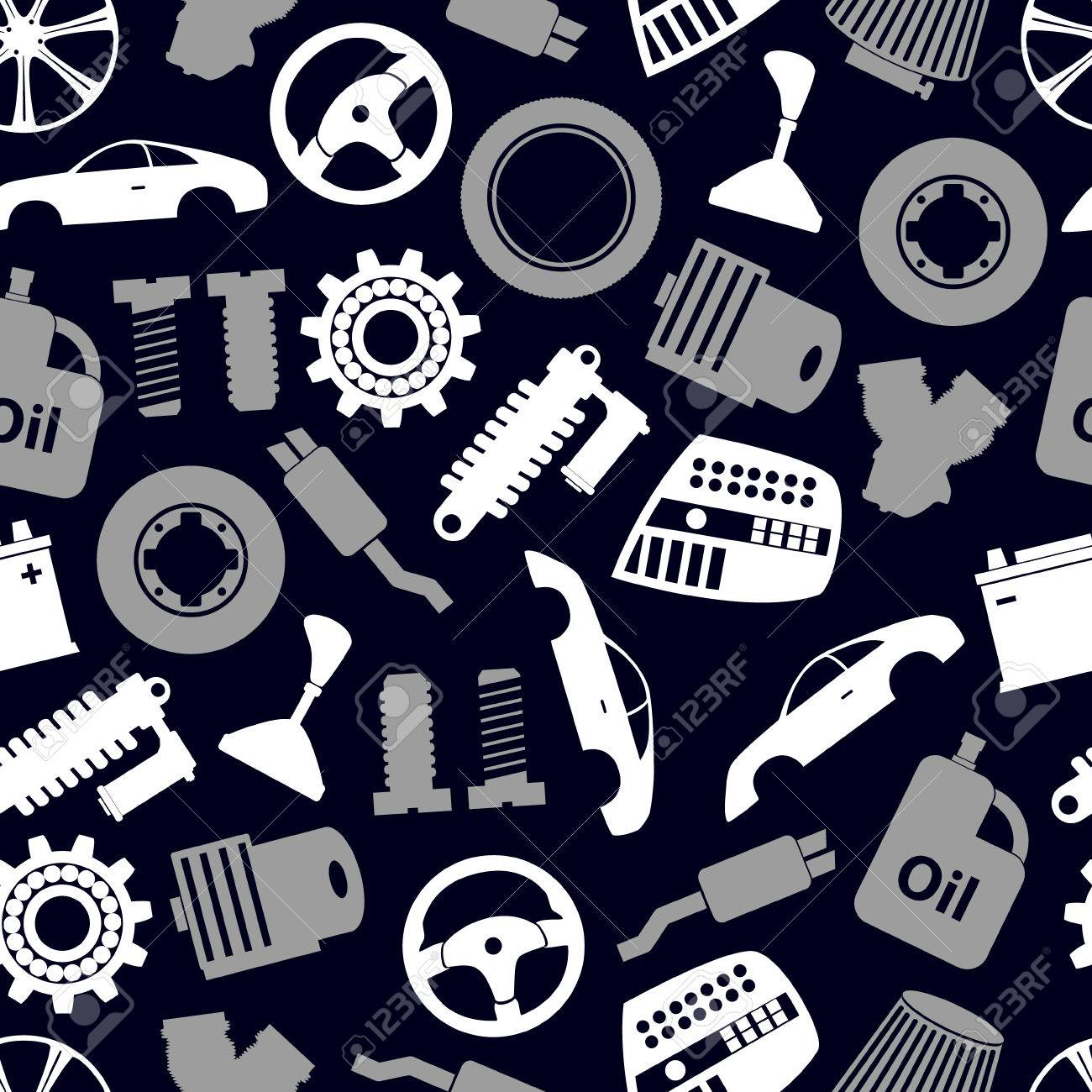 Car Parts Store Simple Icons Seamless Dark Pattern Eps10 Royalty ...