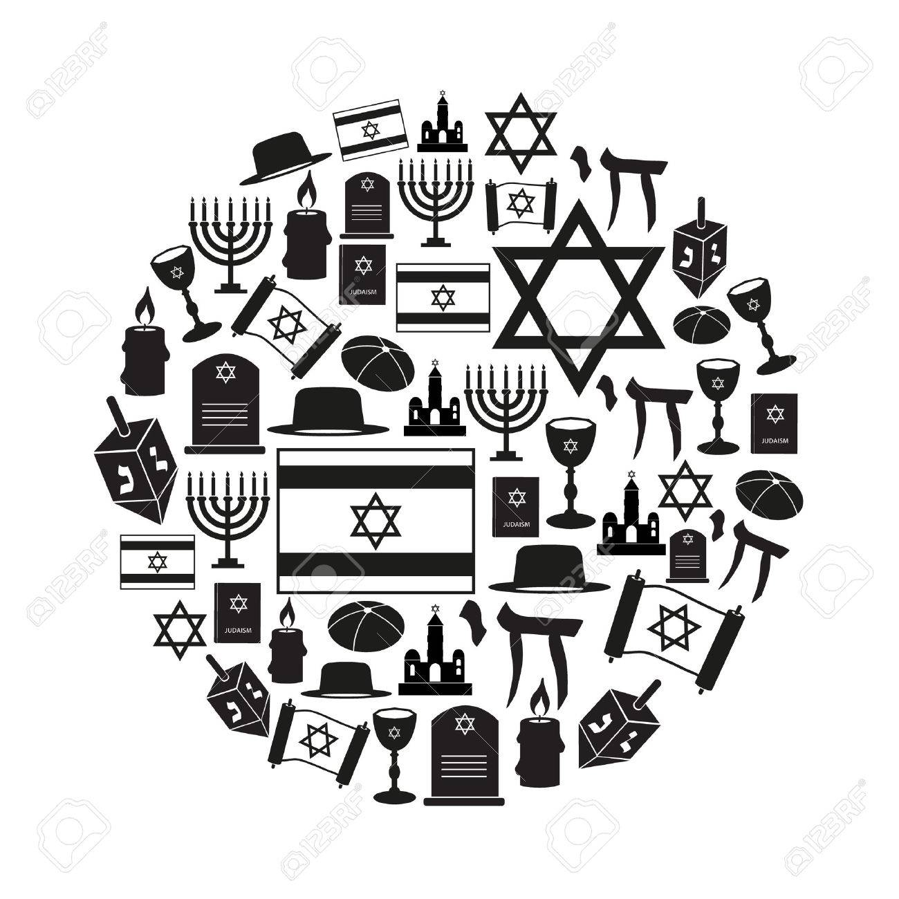Judaism Religion Symbols Vector Set Of Icons In Circle Eps10 Royalty