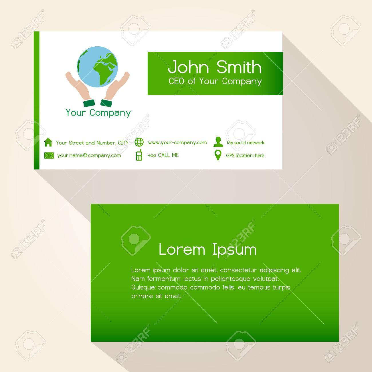Simple Sauver La Plante Carte De Visite Design Vert Eps10 Clip Art