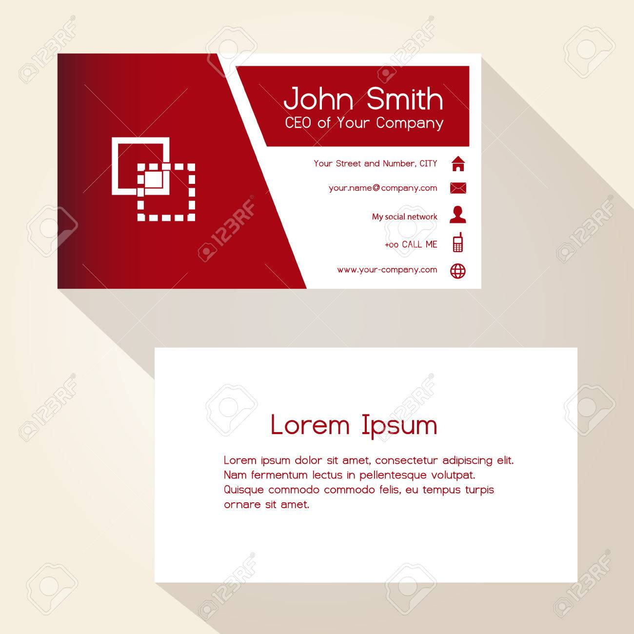 Simple Red And White Business Card Design Royalty Free Cliparts ...