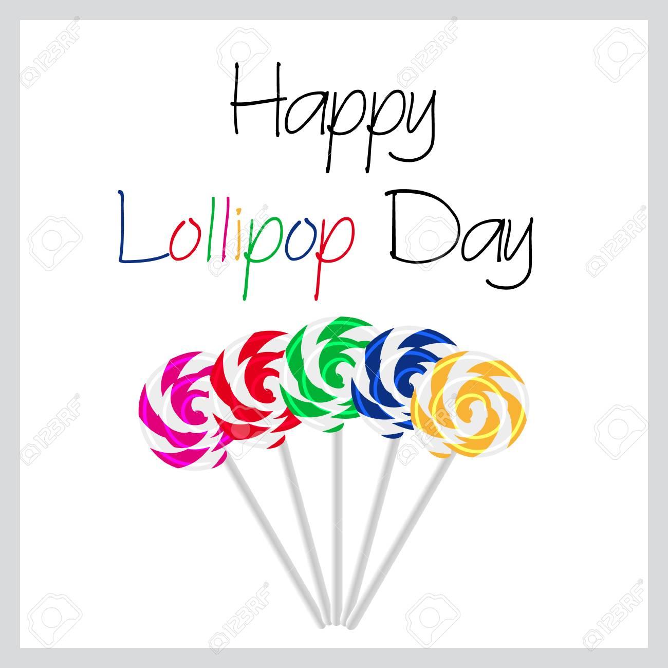 Glückliche Lollipop Tag bunte Karte mit fünf leckere süße Lutscher eps10