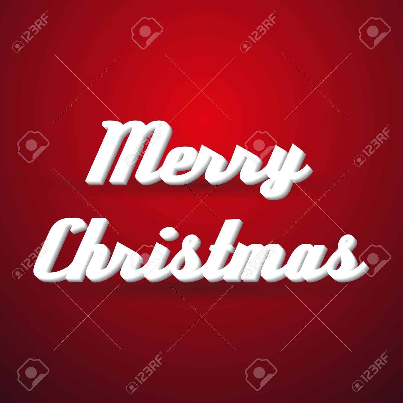 Merry Christmas Holidays Modern Paper Like Text Message On Red ...