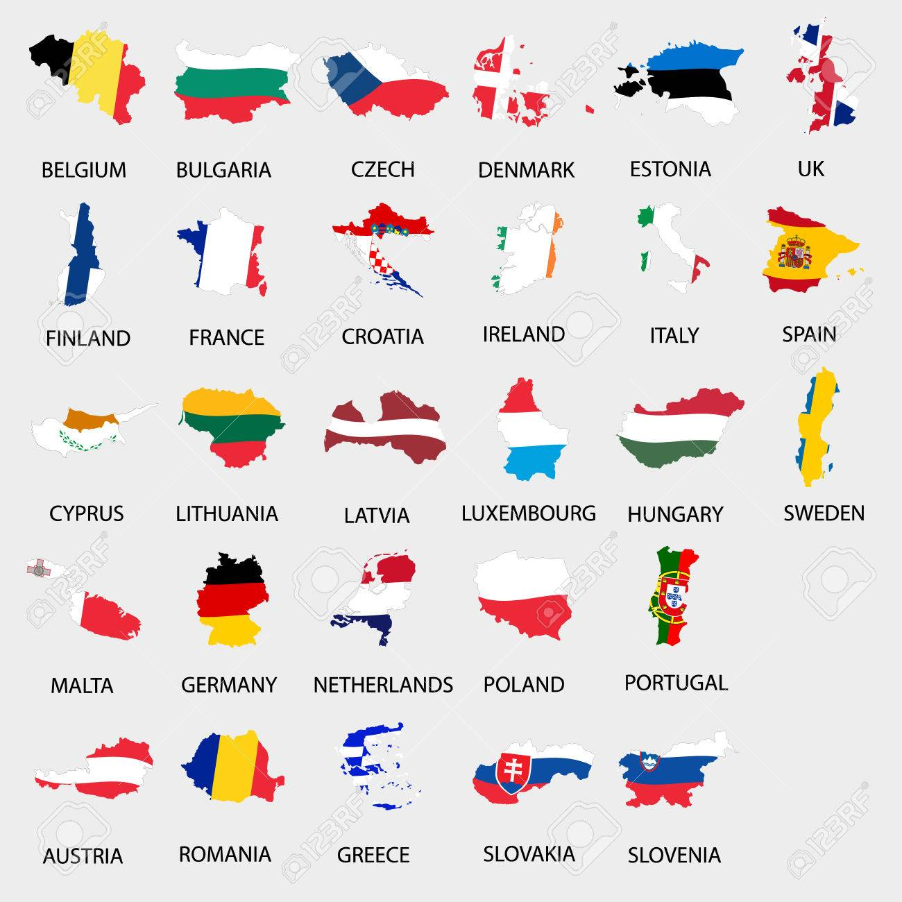 Simple Color Flags All European Union Countries Like Maps Collection