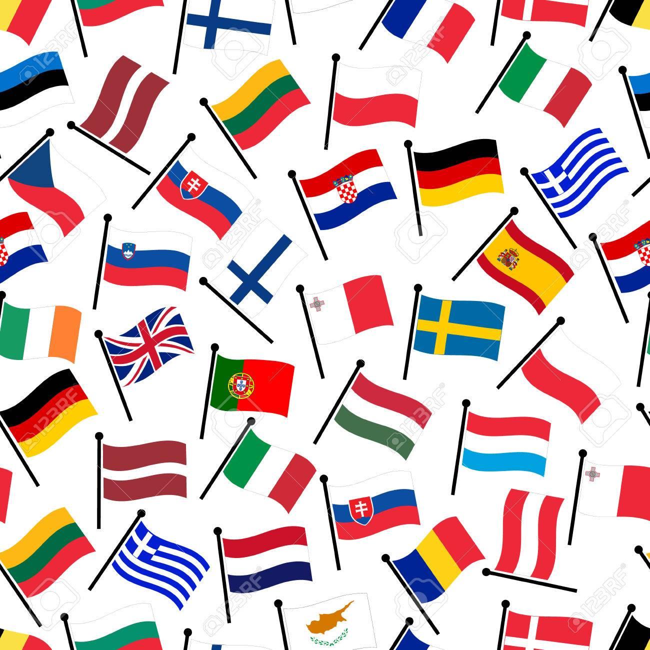 Einfache Farbe Gekrümmte Flaggen Alle Länder Der Europäischen Union ...