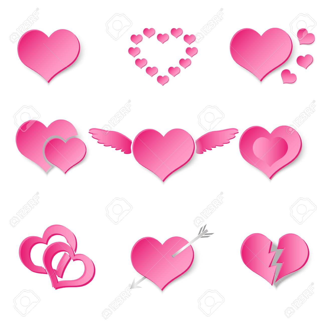 Set of pink paper style valentine hearth love symbols royalty free set of pink paper style valentine hearth love symbols stock vector 70914504 buycottarizona Image collections