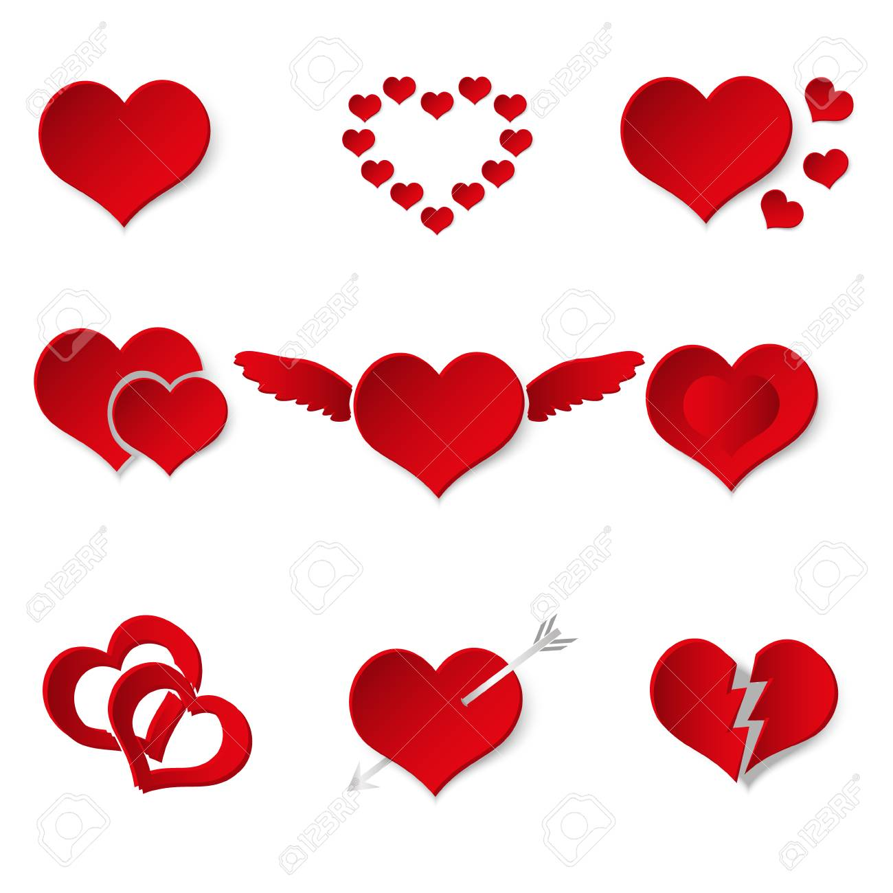 Set of red paper style valentine hearth love symbols eps10 royalty set of red paper style valentine hearth love symbols eps10 stock vector 73172358 biocorpaavc