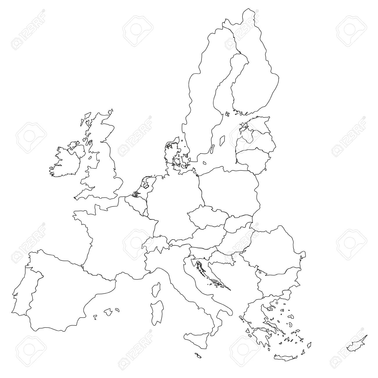 Picture of: Simple All European Union Countries In One Outline Map Eps10 Royalty Free Cliparts Vectors And Stock Illustration Image 75411202