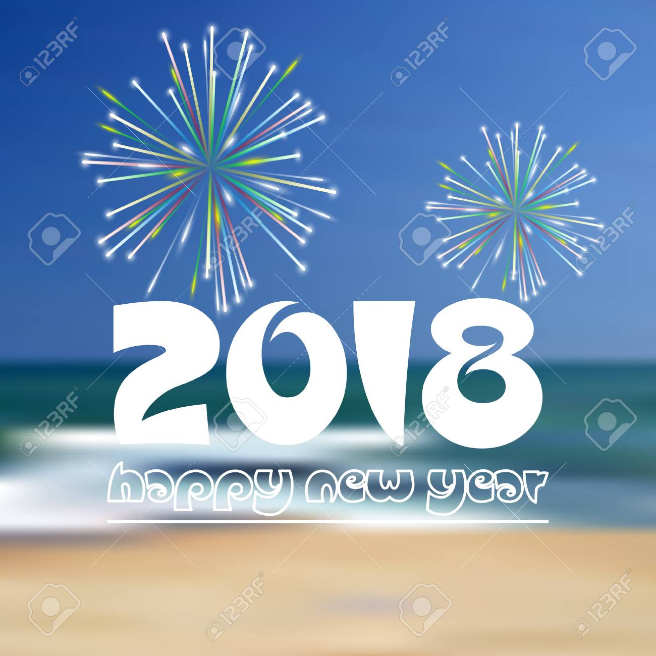happy new year 2018 on blue beach like abstract color background with fireworks eps10 stock vector