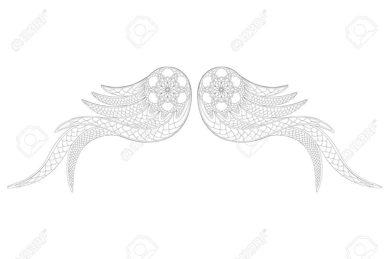 Alas Ornamentales De ángel. Estilo Zentangle. Libro Para Colorear O ...