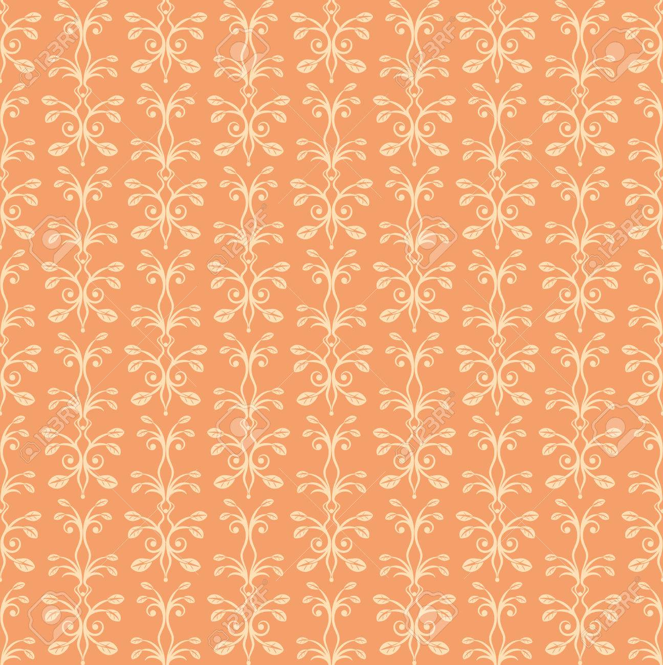 68478949 orange floral ornament seamless pattern vintage luxury texture for wallpapers and backgrounds vector