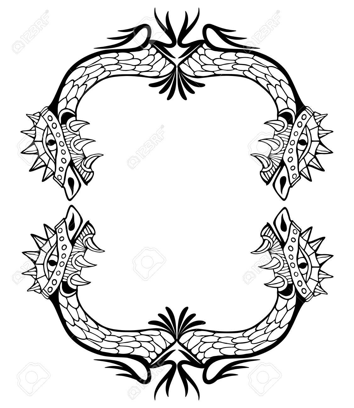 dragon frame coloring book and tattoo vector illustration royalty