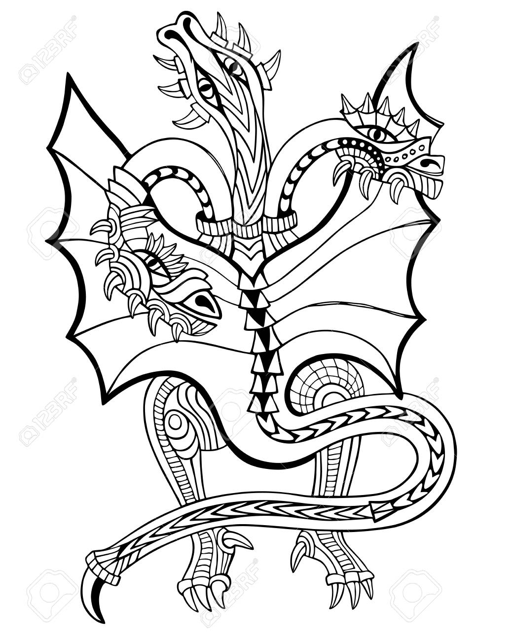Three-headed Dragon. Coloring Book. Hand Drawn Vector Illustration ...