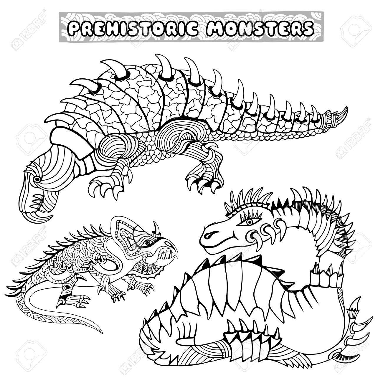 Conjunto De Monstruos Prehistóricos. Libro De Colorear. Ilustración ...