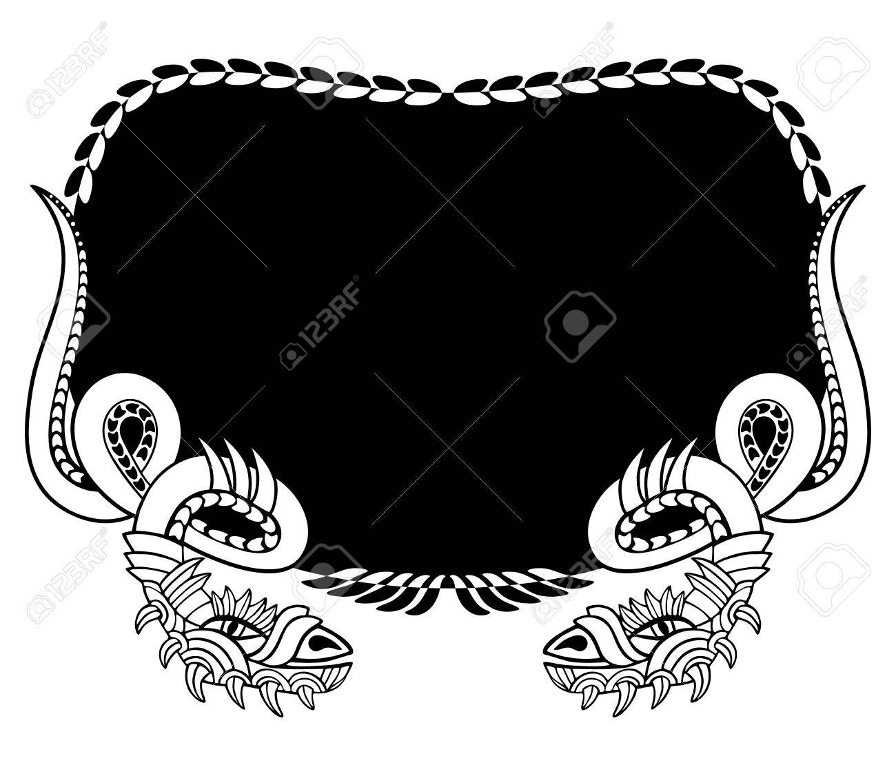 Snake frame. Coloring book and tattoo. Vector illustration. - 74998783