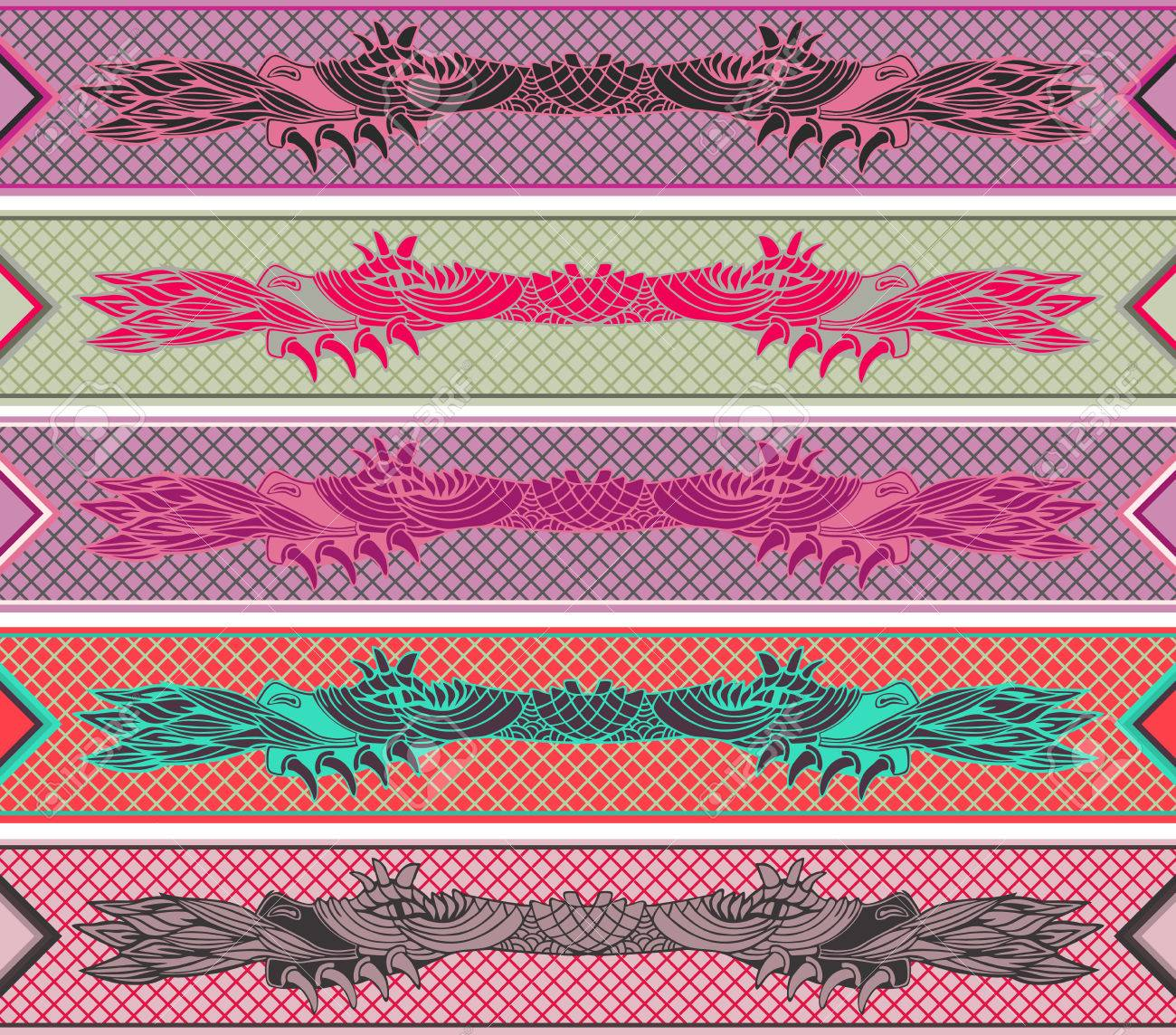 Collection of ribbons with Dragon motif. Asian style. Vector illustration. - 75316063