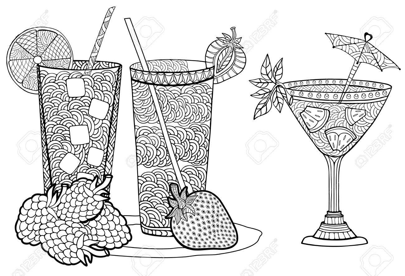 Cócteles Fríos De Fruta De Verano. Estilo Doodle Y Zentangle ...