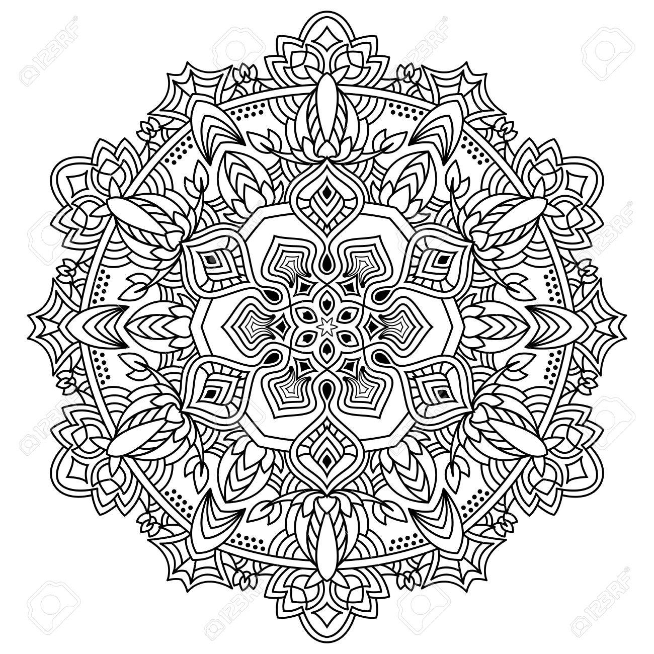 Abstract Collared Mandala Coloring Book Or Tatto. Monochrome ...