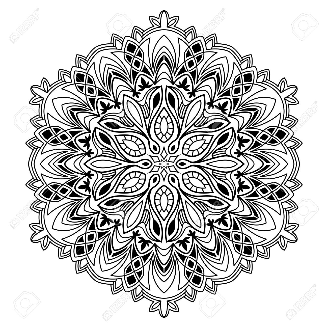 Complicated Mandala Coloring Book Anti Stress Therapy Pattern