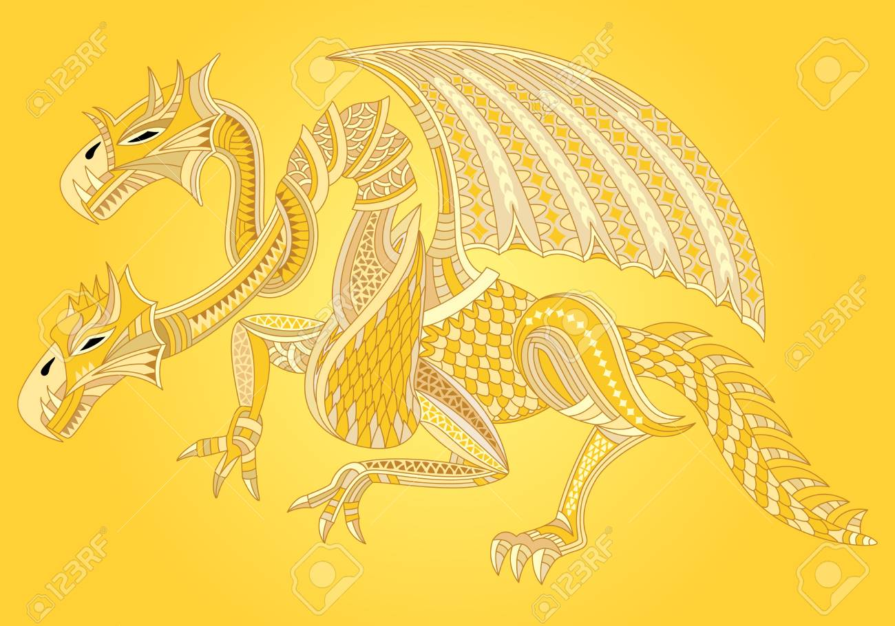 Beautiful golden dragon. Oriental style. Vector illustration. - 81712874