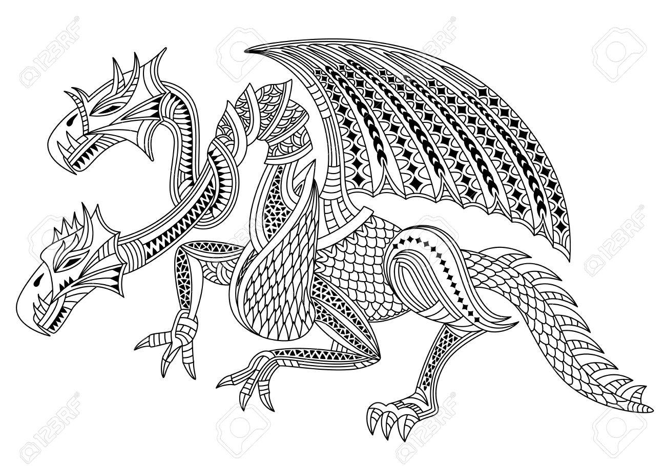 Beautiful Two Headed Dragon Zentangle And Doodle Style Coloring