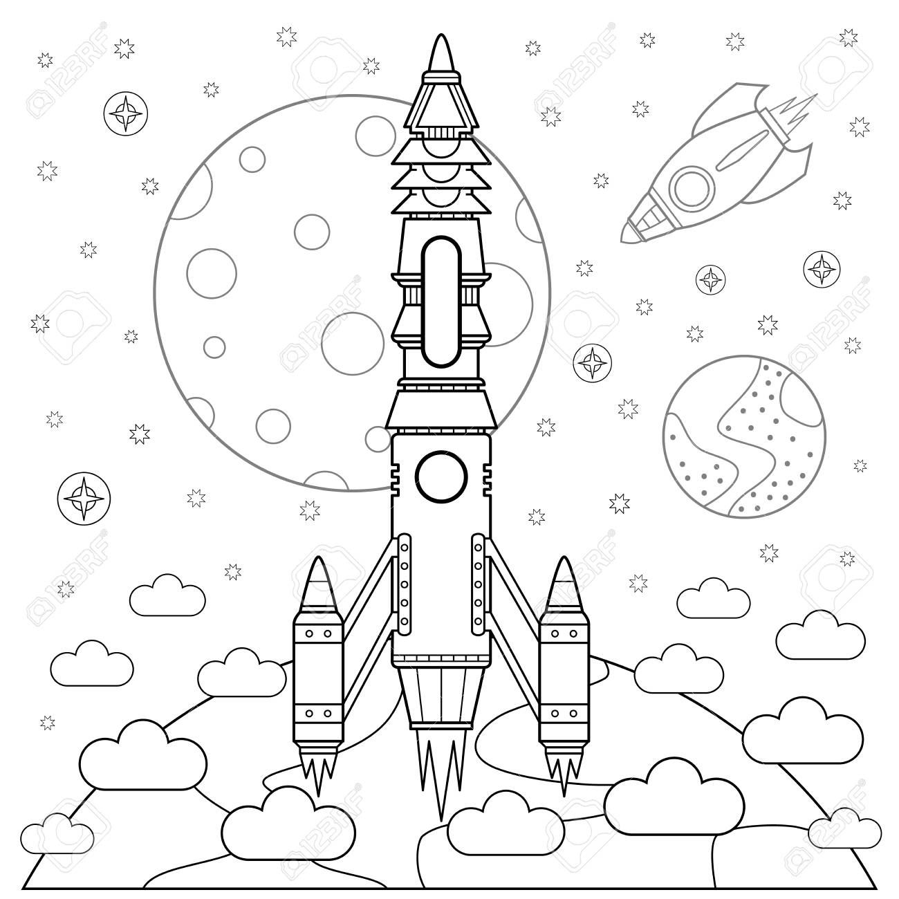 Start Rackets And Space. Coloring Book. Vector Illustration. Royalty ...