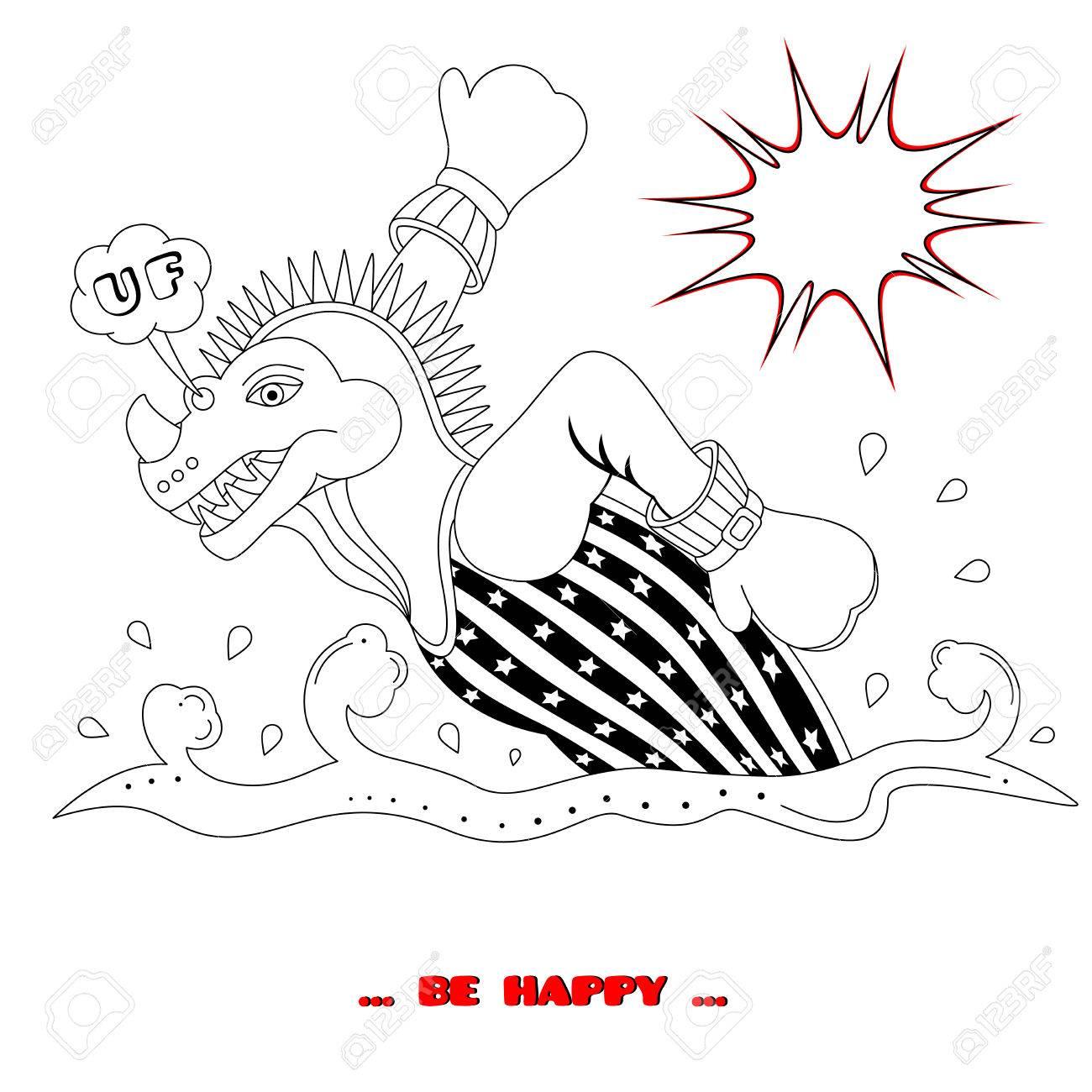 Dino on the run. Coloring book. Cartoon style. Vector illustration. - 83332644