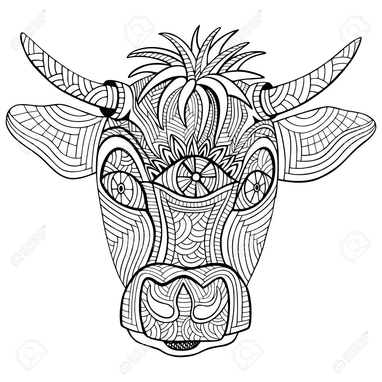 Tête De Vache Dessinée à La Main Zentangle Et Style De Doodle Livre De Coloriage Ou Tatouage Illustration Vectorielle