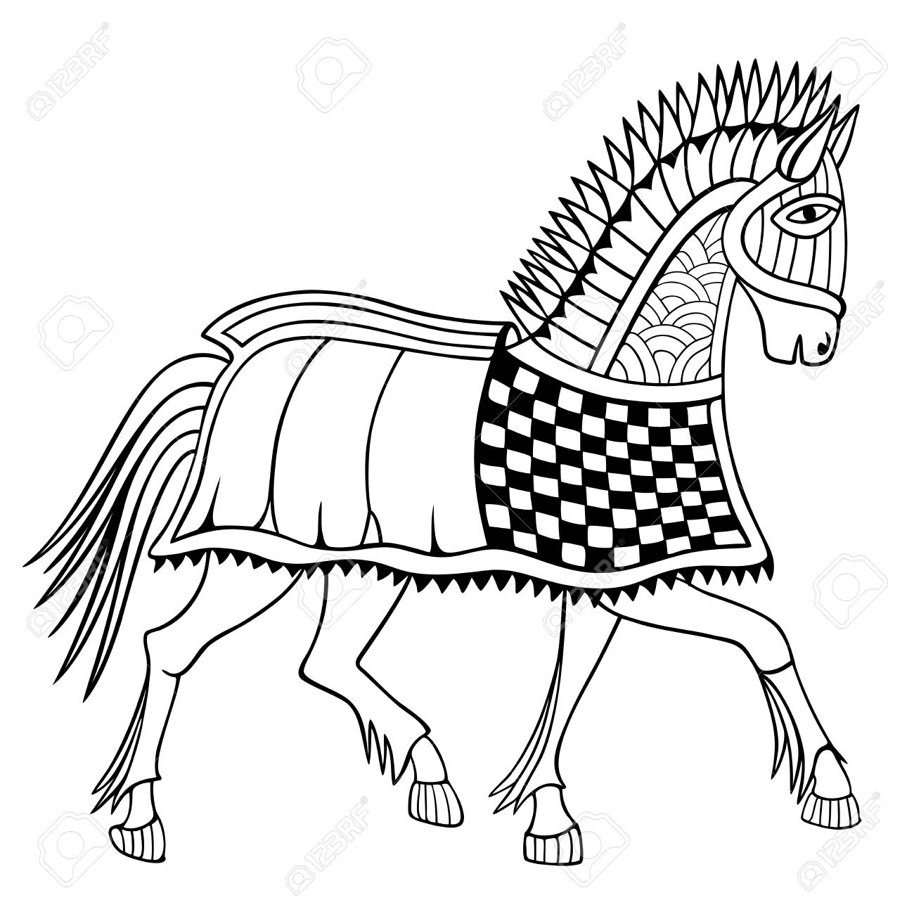 Medieval War Horse Anti Stress Coloring Book Hand Drawn Vector Royalty Free Cliparts Vectors And Stock Illustration Image 95510027