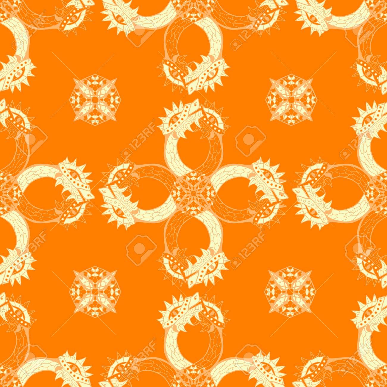 Gold heads of dragon. Circle ornamental seamless pattern. Vector illustration. - 95627775