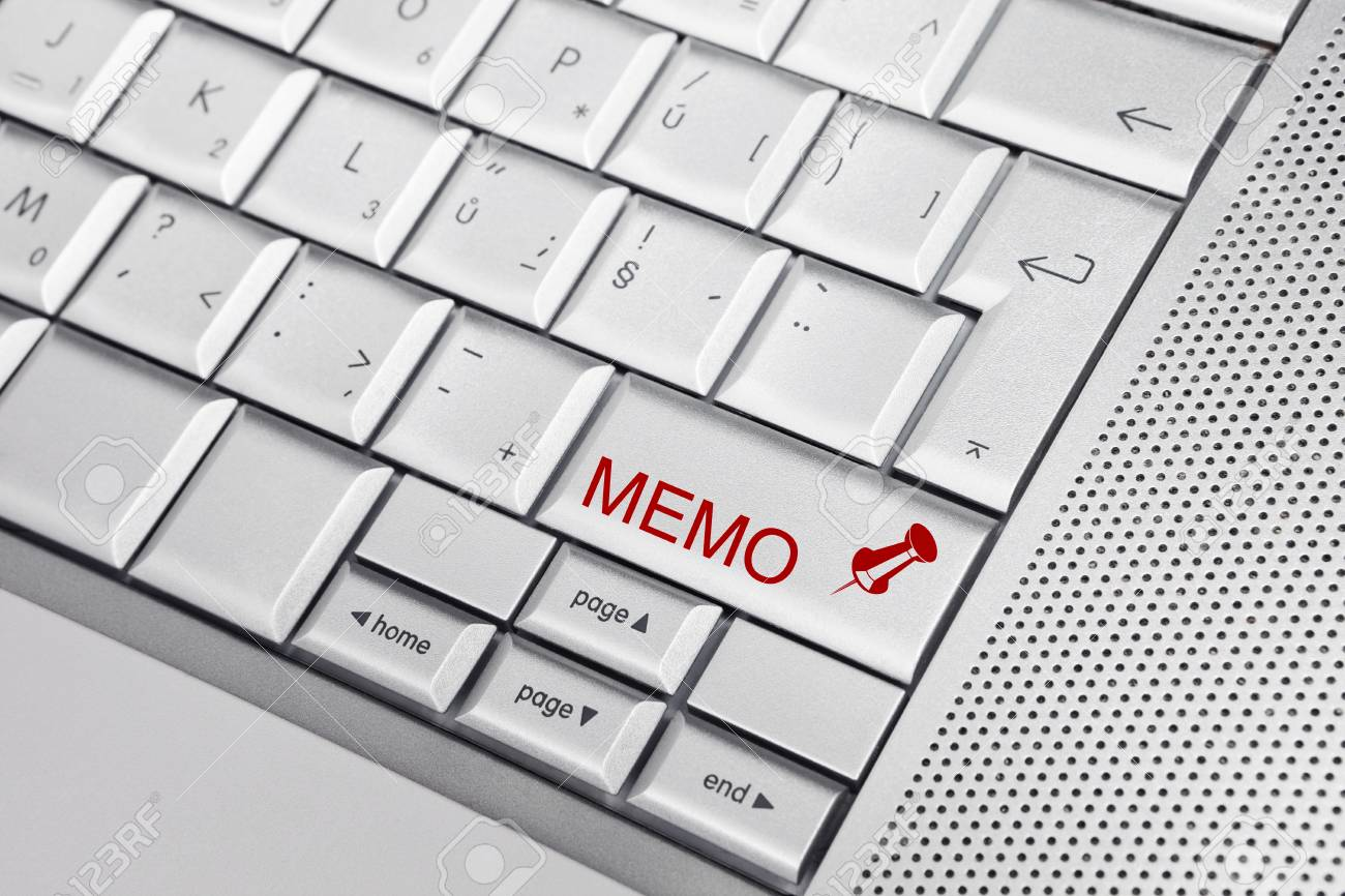 Silver keyboard with push pin icon and text MEMO on a key. Business concept Stock Photo - 8956798