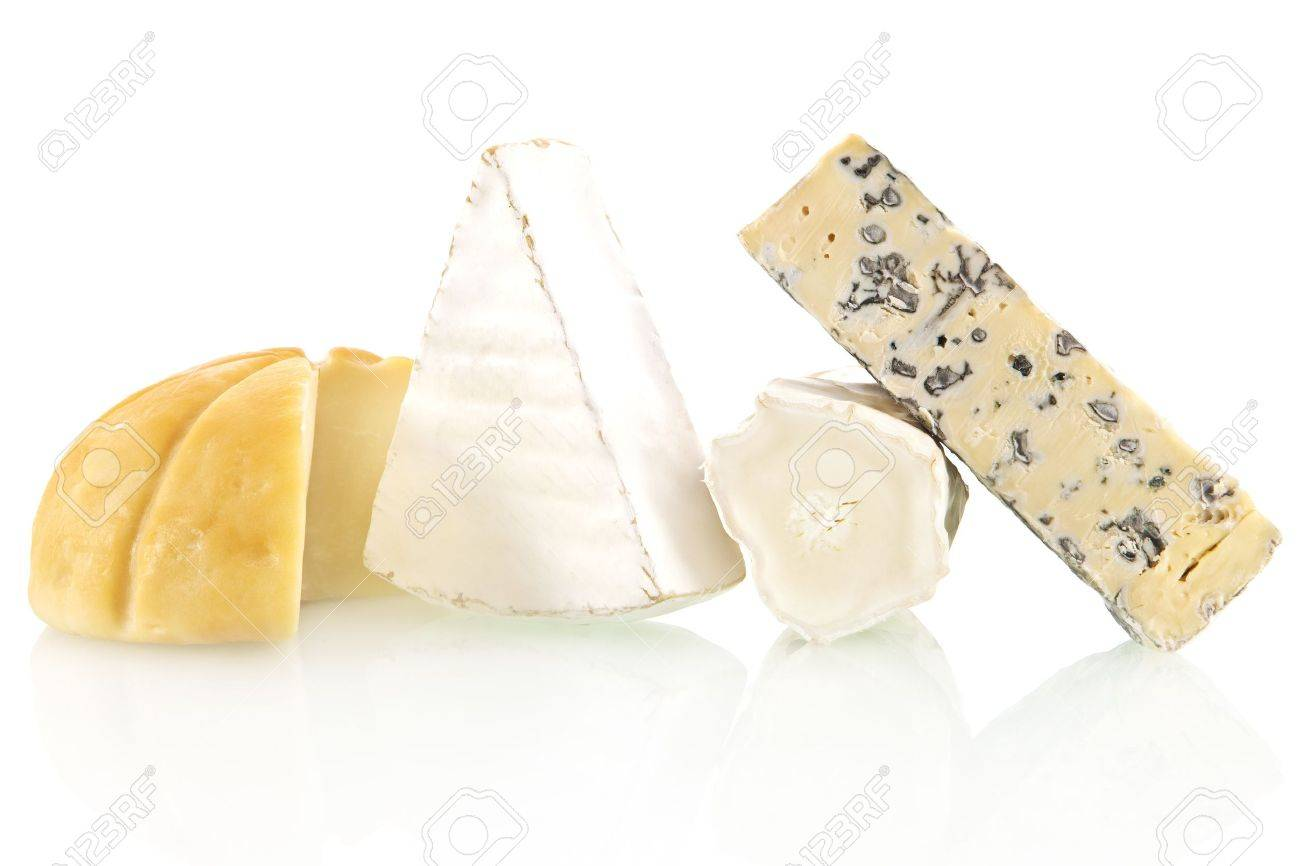 Various cheese sorts isolated on white background. Cheese variation. Stock Photo - 9332969