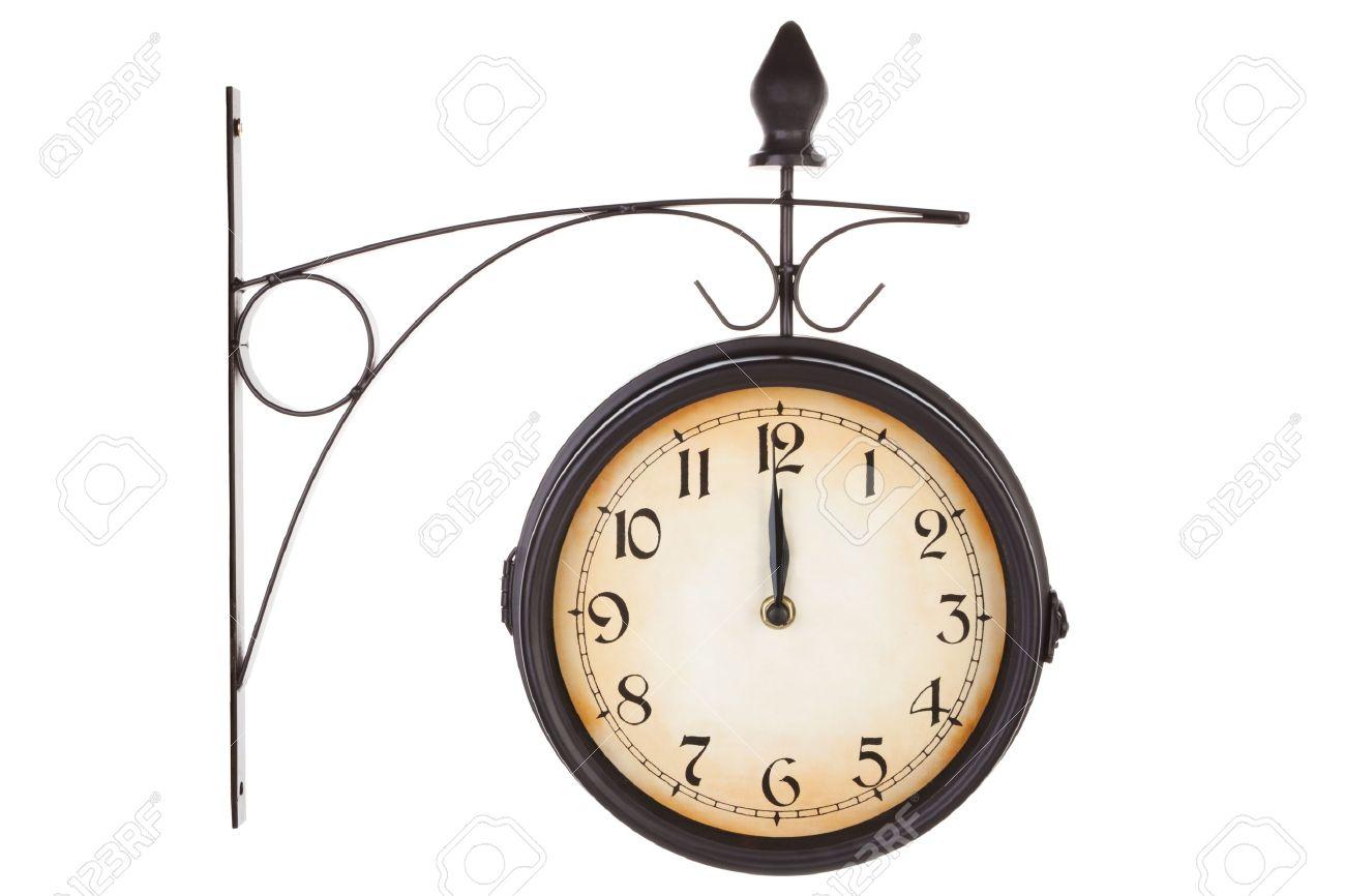 Clásico Reloj De La Estación De Tren De época Aisladas Sobre Fondo