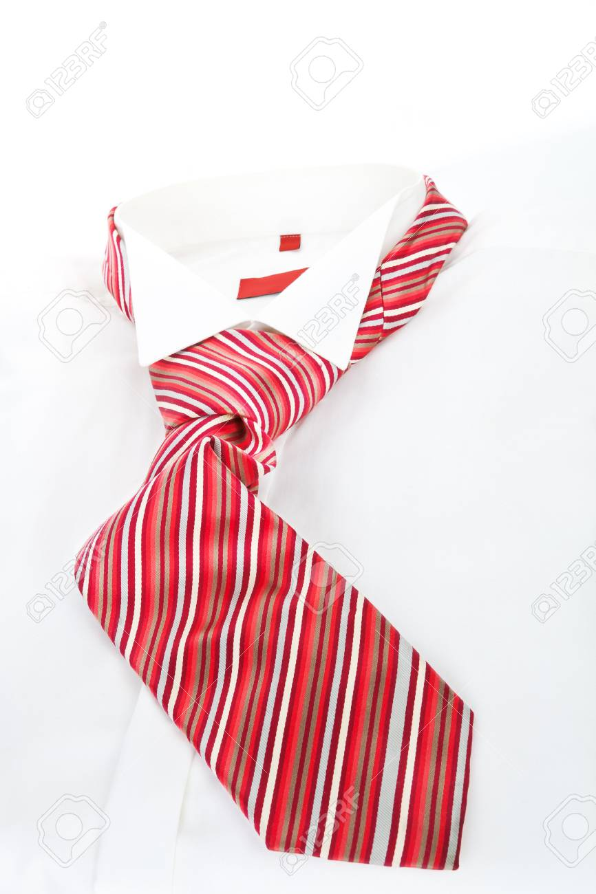 White Dress Shirt With Red Tie Modern Simple Business Concept