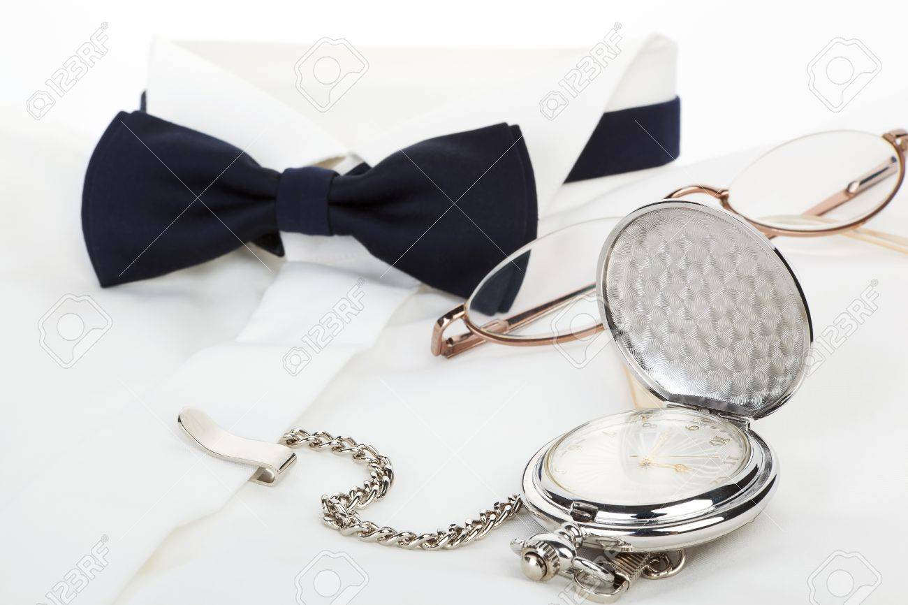 Time Is Money Blue Bow Tie White Dress Shirt Silver Antique