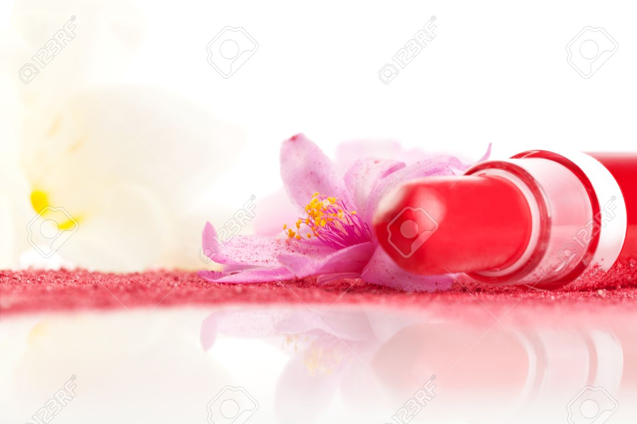Lipstick, pink face powder pink and yellow flower isolated on white background  Luxurious glamour cosmetic background Stock Photo - 18836053