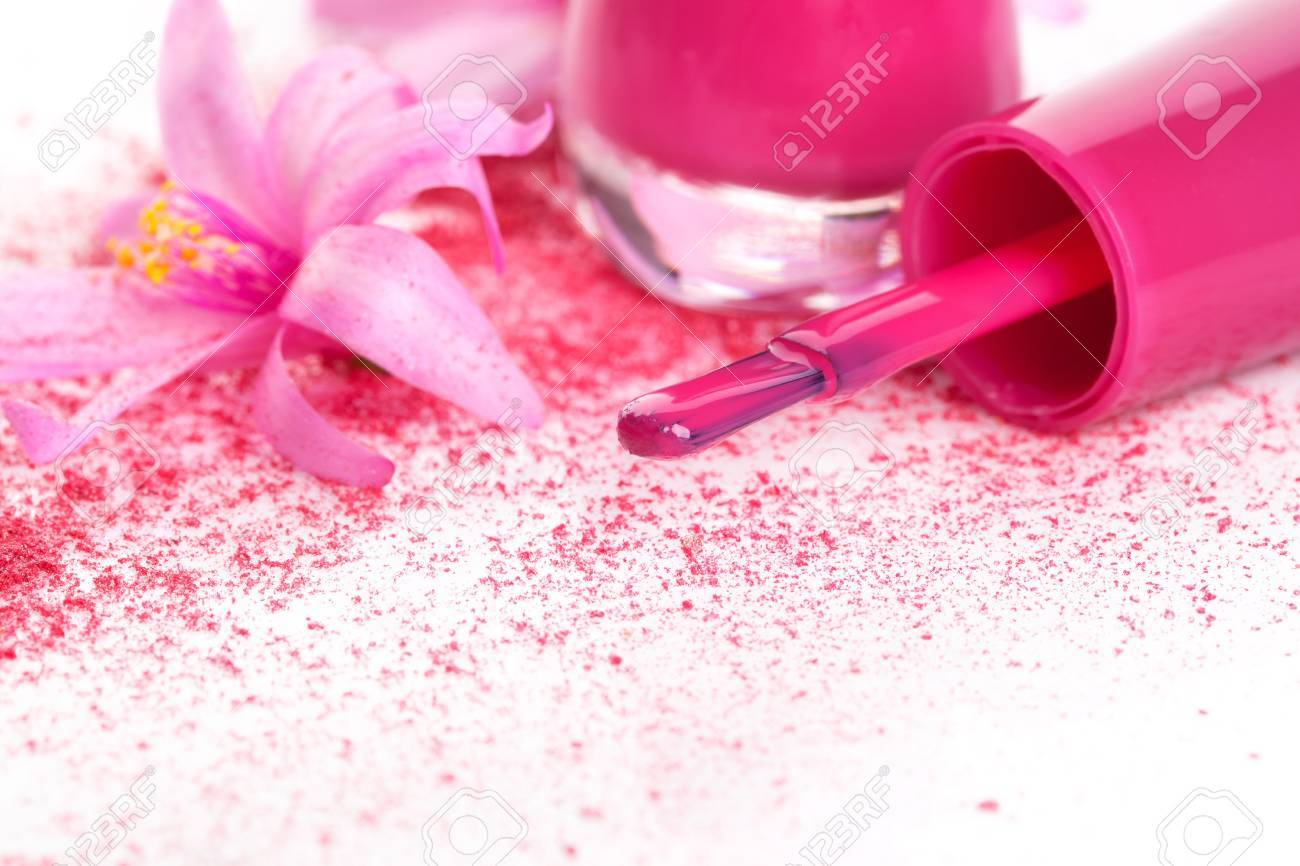 Pink Nail Polish Close Up, Ground Foundation And Make Up With ...
